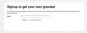 gravatar: cadastro de email