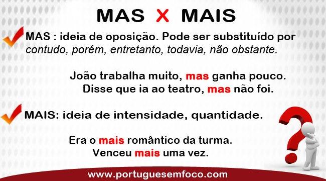 """DIFERENÇA ENTRE """"MAIS"""" E """"MAS"""""""